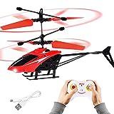 FORMIZON Helicóptero RC, Mini Helicóptero de Control Remoto con Luces LED, Despegue/Aterrizaje con un Botón Helicóptero Teledirigido para Interior y Exterior, Juguete de Regalo para Niños (Rojo)