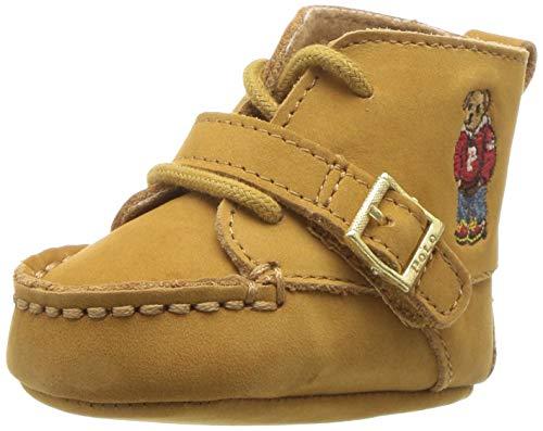 Polo Ralph Lauren baby boys Ranger Hi First Walker Shoe, Cashew Nubuck Hoodie Bear, 4 Infant US