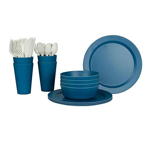 BIOZOYG EcoSouLife Picnic Set de vaisselle en bambou pour 4 I 37 pièces I ustensiles de plein air I vaisselle écologique en bambou – Idéal pour le camping et les pique-niques, Bambou, bleu, 1