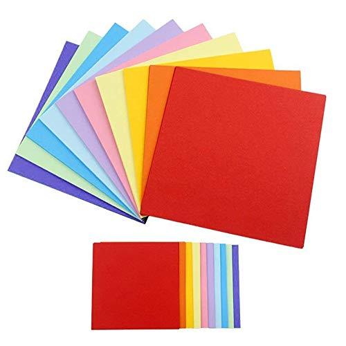 200 Fogli Colorati Double Face,Carta per Origami,Carta Quadrata Colorata di Colore,Adatta per Molte Decorazioni interessanti, Pittura, Taglio Fai da te