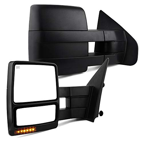 YITAMOTOR Towing Mirrors Compatible with Ford 2004 - 2006 F150 Series Pickup Power Heated LED Turn Signal Puddle Light Tow Mirrors