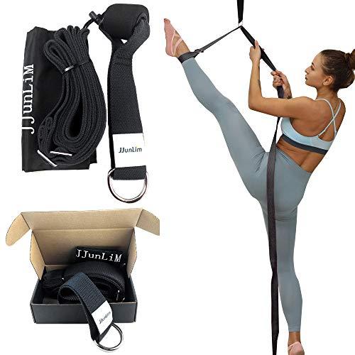 Fascia per allungamento gamba, per danza e ginnastica, per l'allenamento a casa o in palestra, fascia elastica, Black