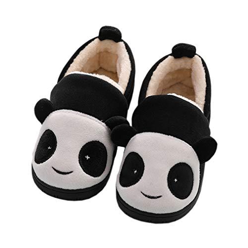 Zapatillas de Estar por Casa para Niñas Niños Invierno Zapatillas Interior Casa Caliente Pantuflas Suave Algodón Calentar Zapatilla Mujer Hombres Negro 23-24 EU (Fabricante: 16-17)