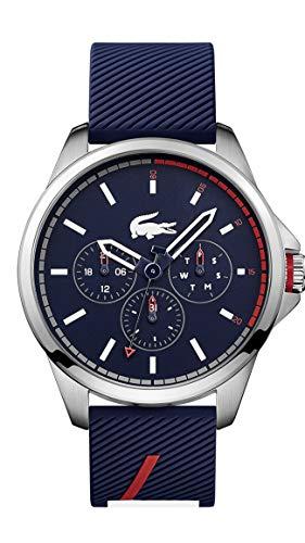 Lacoste Relógio de quartzo de aço inoxidável com pulseira de borracha, Azul