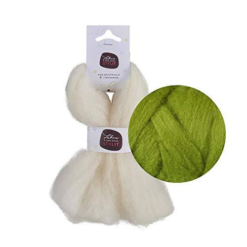 Filzwolle grün / Märchenwolle, 12 Farben / 100 % Schafwolle, gekämmt, wetterfest, farbecht / Nadelfilz im Kammzug zum Nassfilzen + Trockenfilzen / STYLIT