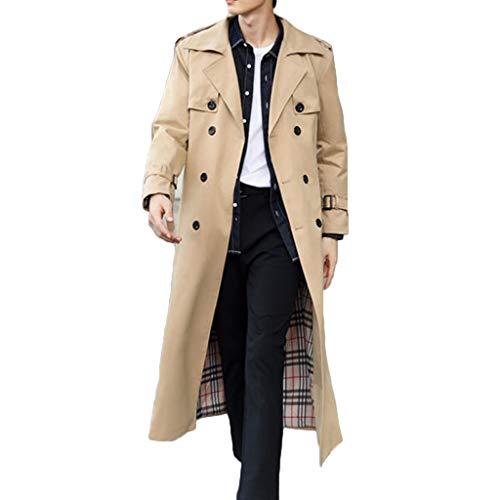 MWbetsy Graben-Mantel der Männer Lange Jacke Herbst British Style Geschäftsreiten Land Kleidung Zweireiher Mantel Large Size Langarm-Overknee-Oberbekleidung,Khaki,XL