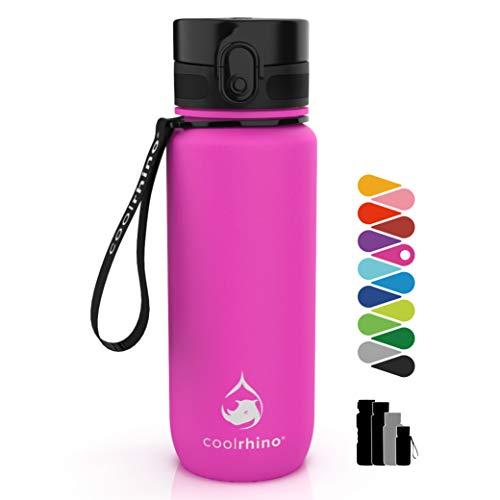 coolrhino Botella de agua de 350 ml para deportes, niños, escuela, fitness y actividades al aire libre – Botella antigoteo y libre de BPA – Botella adecuada para ácido carbónico (Rhino Pink), 350 ml