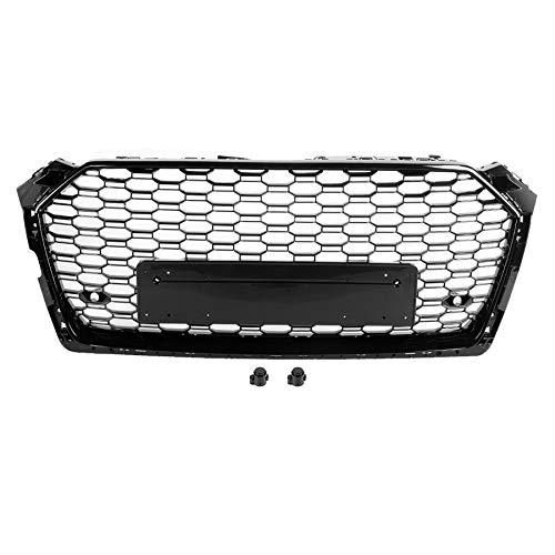 EBDH Mesh Grill Grille, Black ABS Fit for Audi A5 / S5 B9 2017 2018 2019 No logo for RS5 style car styling front