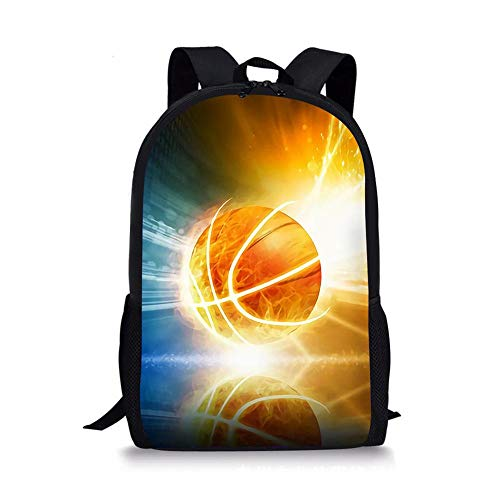 HUANIU Children's Backpack 3d Bright Basketball Backpack Cartoon Super Light Student School Bag Shoulder Bag Travel Backpack Computer Bag Large Capacity C-15in * 10.7in * 4.2in