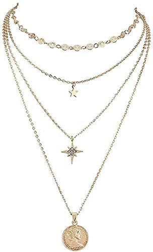 Aluyouqi Co.,ltd Collar Collar Mujer Collar Hombre Collar Retro Star Head Collares Pendientes Capas Femeninas Collar Tallado en Oro Regalo de Fiesta de Personalidad Collar para niñas y niños