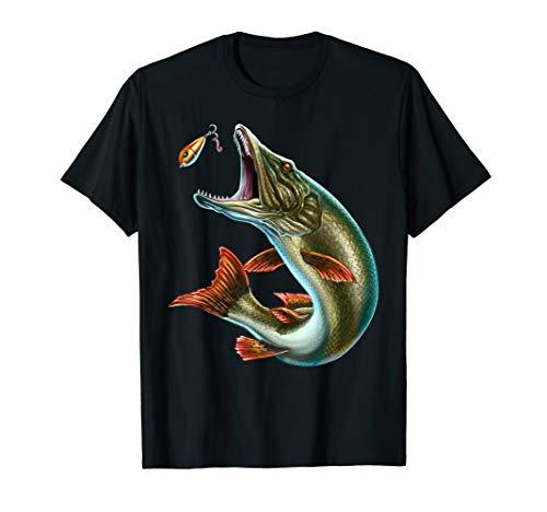Geschenk für Angler: Hecht beim Anbeißen mit Köder - Angler T-Shirt
