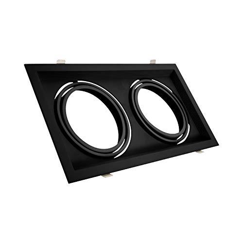 Anello Downlight quadrato basculante in alluminio per due lampadine LED AR111 (nero)