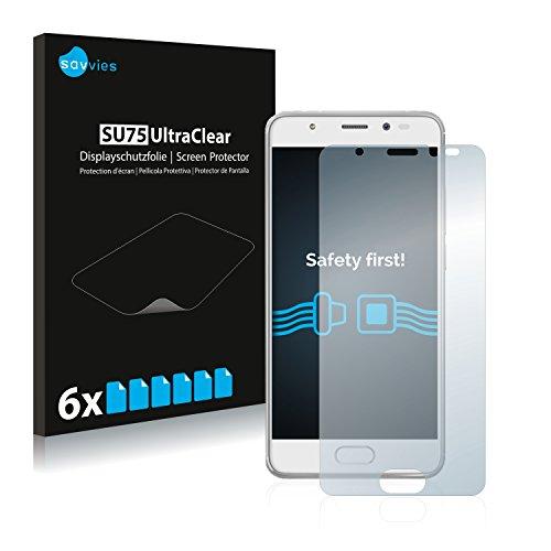 Savvies 6X Schutzfolie kompatibel mit Wiko U Feel Prime Bildschirmschutz-Folie Ultra-transparent