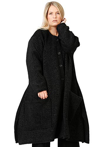 """AKH FASHION Schwarzer Oversize Mantel Damen, Lagenlook Mode Mantel """"Astrakan"""", knielanger, weit ausgestellter Mantel in A-Linien Form"""