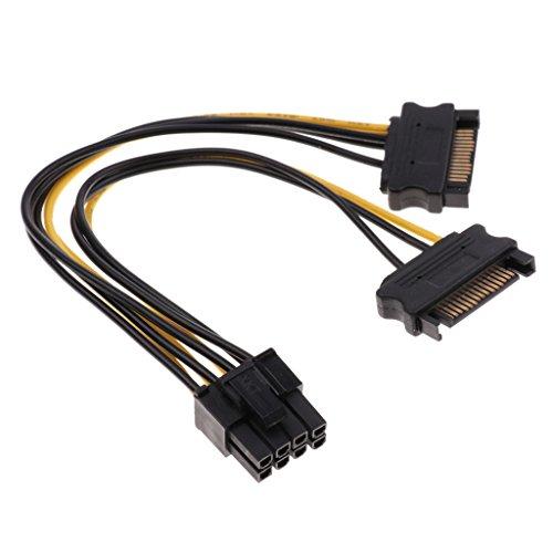 non-brand Dual 15-pol. SATA zu 8-pol. (6 + 2) PCI-e-Grafikkarte Netzteil Power Adapterkabel Netzkabel Grafikkarten verlängerungskabel PCI-e Adapter Stromkabel