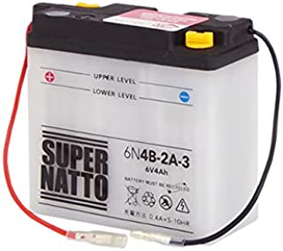 SUPER NATTO / 6N4B-2A-3 (GSユアサ 6N4B-2A-3互換) 6V バイク用バッテリー 開放型(DT50 MR50 トレール DT50 MR50 ミニ GT50 GT80 MR80 ミニ GT80 トレール DT90 ...