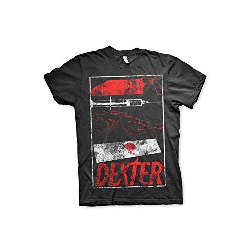 DEXTER Offizielles Lizenzprodukt Signs T-Shirt (Schwarz), X-Large