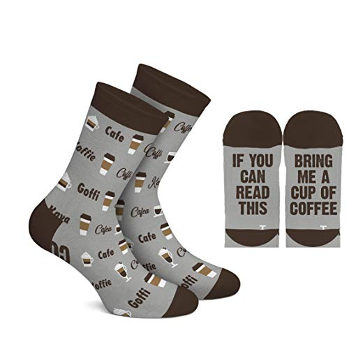 Men's If You Can Read This Bring Me A Cup Of Coffee Crew Socks ~ Funny Novelty Socks (Coffee)