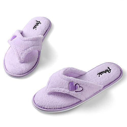 Aerusi's Elegant Lavender Thong Flip Flop Style Plush Spa Bath Slippers for Ladies (Size 8)