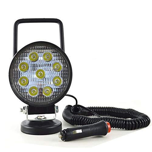 Willenskraft 4 Zoll 27W Magnet LED Arbeitsscheinwerfer Magnetfuß, Zigarettenanzünder angetrieben, tragbare runde LED Spot LED Tuning Licht 12V 24V für Auto Offroad SUV Trailer Traktor LKW