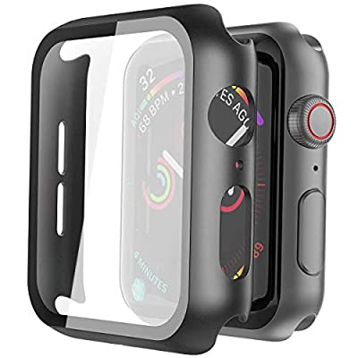 Misxi 2 Pack Hard PC Case with Tempered Glass Screen Protector Compatible with Apple Watch Series 6 SE Series 5 Series 4 44mm, Black