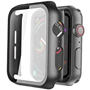 #LightningDeal Misxi 2 Pack Hard PC Case with Tempered Glass Screen Protector Compatible with Apple Watch SE Series 6 Series 5 Series 4 40mm - Black