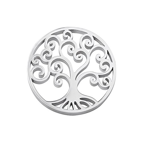 Quiges Women's Silver Stainless Steel Interchangeable 33mm Coin Tree of Life for Necklace Pendant