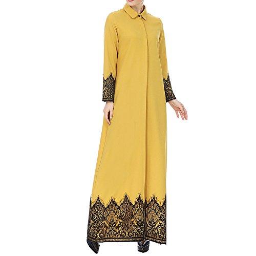 FRAUIT Strickjacke Damen Herbst Frühling Langen Shirts Mantel Frauen Muslimische Lace getrimmt Front Abaya Blusen Maxi Kleid Kimono Freizeit Festival Party Kleidung 100% Baumwolle