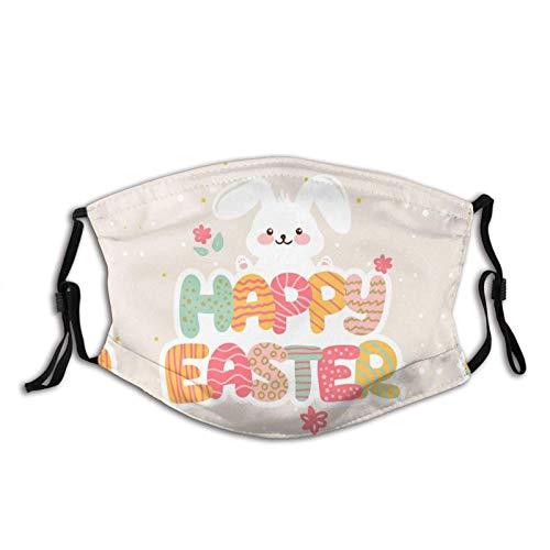 Happy Sweet Easter Candy Bunny mascarilla facial bufanda, lavable, pasamontañas reutilizables con 2 filtros, para el trabajo y la escuela