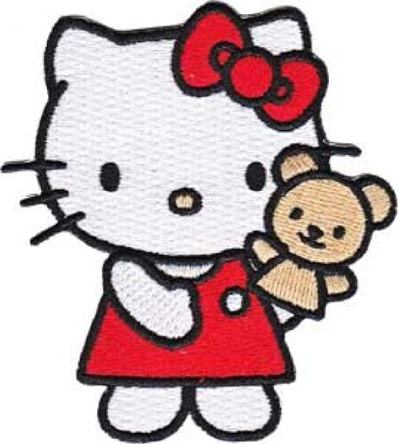 Sanrio Hello Kitty Iron On Patch - Red Dress Cat w/ Teddy Bear Applique