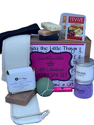 Spa Kit Relaxation Gift Set - Complete 11-Piece Kit With Handmade Soaps, Konjac Sponge, Organic...