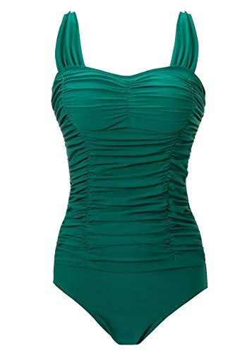 COCOPEAR Women's Elegant Vintage One Piece Swimsuit Retro Tummy Contal Swimwear (FBA) Teal 2XL/14-16