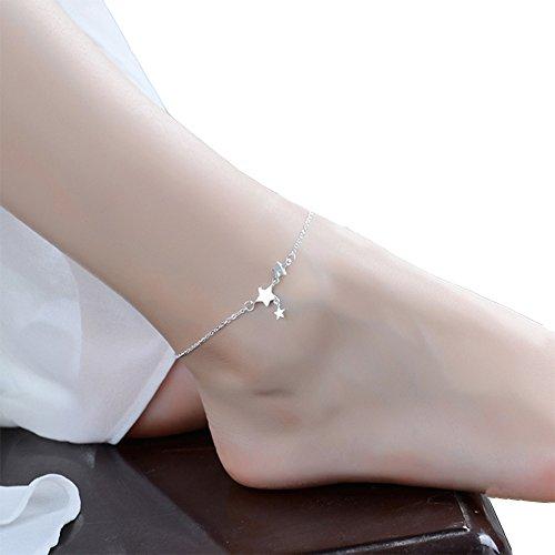 Hosaire Pulsera de Tobillo de Plata Pentagram 80mm Pulsera de Cadena de Moda Chica de Partido de Las Señoras