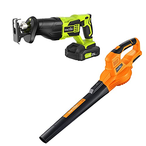 20V Cordless Leaf Blower (Orange) with Reciprocating Saw