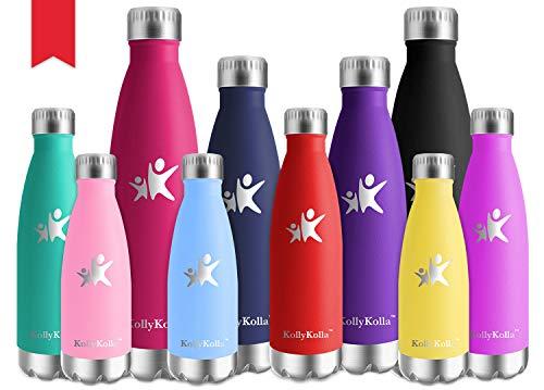 KollyKolla Botella de Agua Acero Inoxidable, Termo Sin BPA Ecológica, Botellas Termica Reutilizable Frascos Térmicos para Niños & Adultos, Deporte, Oficina, Yoga, Ciclismo, (350ml Rojo)