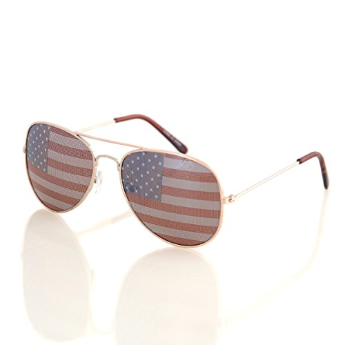 Shaderz USA America Aviator Sunglasses - Great Accesory for 4th of July - Gold Color Frame