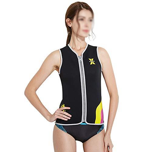 WEATLY Estiramiento Alto 3 MM Traje de Buceo Mujer sin Mangas Snorkeling Surf Ropa Chaleco de natación de Invierno cálido Chaleco Traje de baño (Color : Negro, Size : S)