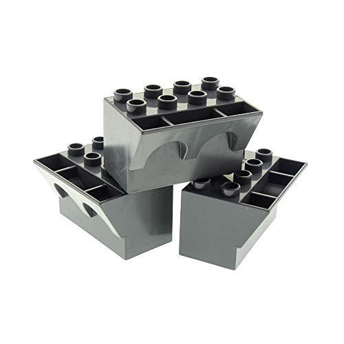 3 x Lego Duplo Zinne unten neu-dunkel grau 3 x 4 x 2 Brüstung gewölbt Parapet Ritter Burg Mauer Unter Teil Set 4785 4779 4776 4777 4960 51732