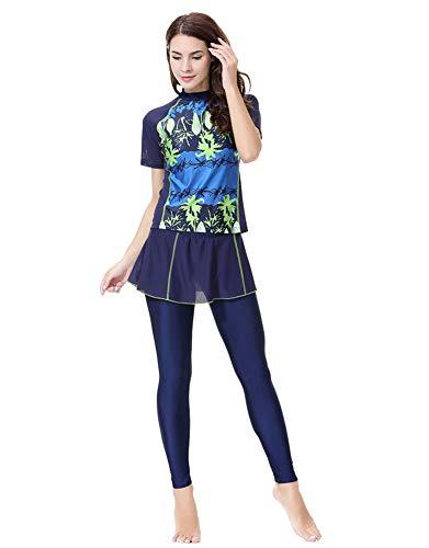 TianMaiGeLun Damen Badeanzüge Muslimische Bademode Hijab Badeanzug islamische Kurze Ärmel (Blau, M)