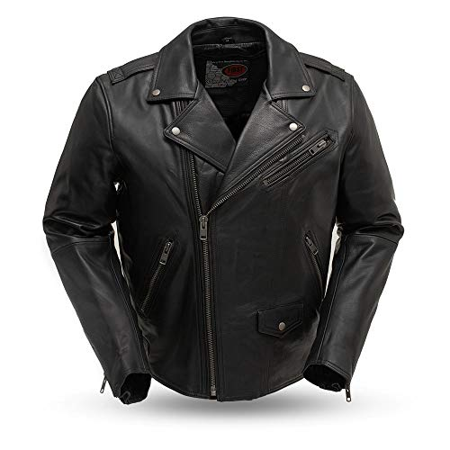 First MFG Co. - Enforcer - Men's Motorcycle Leather Jacket (Black, Large)