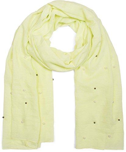 styleBREAKER unifarbener Schal mit hellen und dunklen Perlen besetzt, Tuch, Damen 01016146, Farbe:Limettengrün