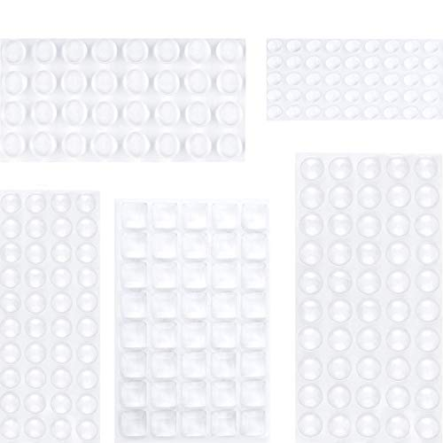 Elastikpuffer Transparent,195 Stück Gummifüße Selbstklebend,(5 Größen) Anschlagpuffer Stoßfänger Pads,Türpuffer Möbelpuffer Gummipuffer für Türen,Schränke,Tastatur,Silikon Türdämpfer Schutzpuffer