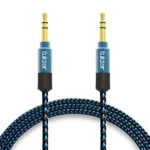 Tukzer Nylon Braided Premium 3.5mm Aux Audio Cable for Car (Blue and Black)
