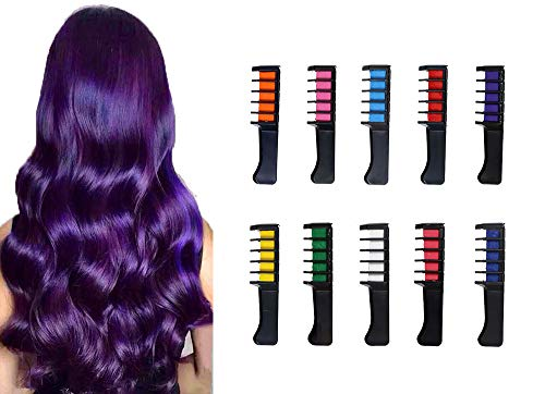 Temporary Hair Color Chalk Comb Set,LAXMTT Washable Dye Hair Chalk Comb, Birthday Parties Cosplay Halloween and Christmas Gifts For Girls(10 Color)