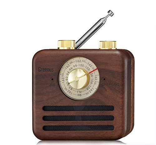 Vintage Radio Retro Speaker Bluetooth Speaker Weather Radio NOAA/Wb/FM,Natural Walnut Wood,2200mAh Clear and Crisp Sound for Bathroom,Office,Camp,Greeous.