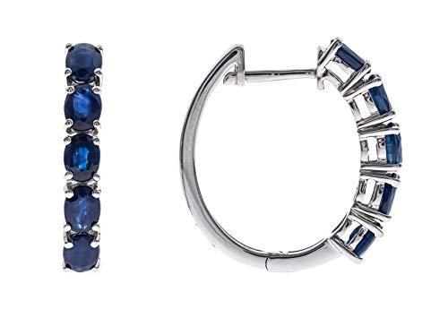 Gin & Grace 925 plata esterlina pendiente del aro genuino azul zafiro para la Mujer