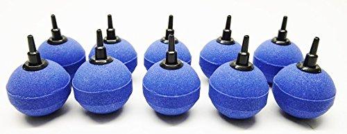 AquaOne Aquarium Teich Luftausströmer Kugel Größe 5cm blau Sauerstoffstein Sprudler 10 STK Luftschlauch Sauerstoffstein