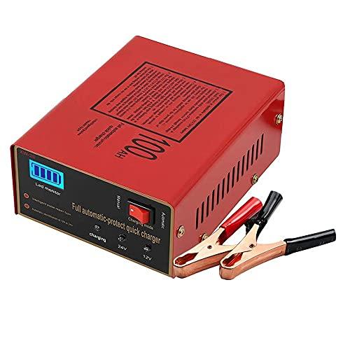 Keyohome - Cargador automático de 12 V/24 V, cargador inteligente con pantalla LED, compatible con coche, moto, barco, etc. (6-200 AH)