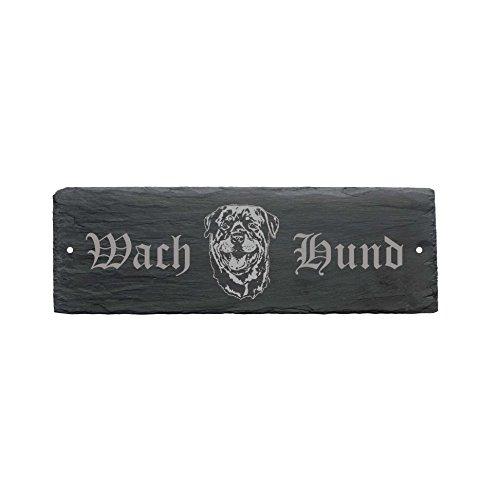 wetterfestes Schild « WACHHUND ROTTWEILER » Türschild aus Schiefer - Hund 22 x 8 cm - Hund Dog