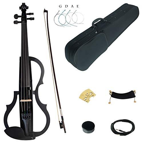 Kinglos 4/4 Farbig Massivholz Fortgeschritten 3-Band EQ Elektrische Violine Geige Set mit Ebenholz Beschläge (SDDS1801)